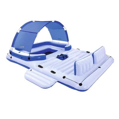 White Vinyl Rectangle CoolerZ Tropical Breeze 6-Person Floating Island Pool Lake Raft Lounge