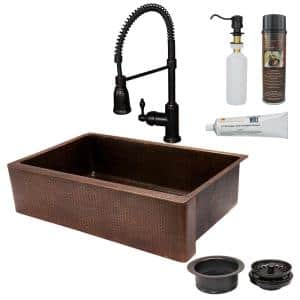 All-in-One Farmhouse Apron-Front Copper 35 in. 0-Hole Single Basin Kitchen Sink in Oil Rubbed Bronze