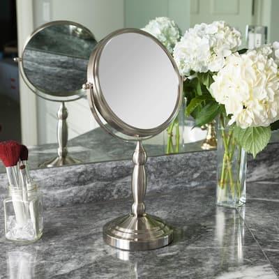 16 in. L x 9 in. W 360° Swivel Freestanding Bi-View 10X/1X Magnification Vanity Beauty Makeup Mirror in Satin Nickel