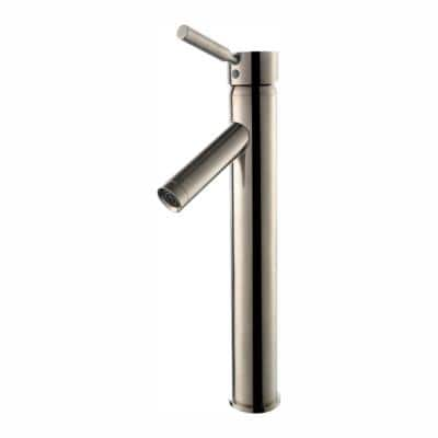 Sheven Single Hole Single-Handle Vessel Bathroom Faucet with Matching Pop Up Drain in Satin Nickel