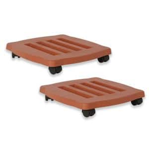 Caddy Square 15 in. Terra Cotta Plastic Plant Stand Caddy with Wheels (2-Pack)