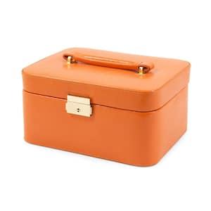Orange ''Lizard'' Debossed Leather Jewelry Box