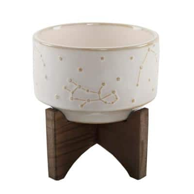 4 in. Ivory Ceramic Constellation Pot on Wood Stand Mid-Century Planter