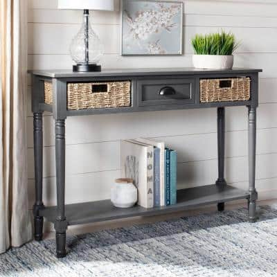Winifred 45 in. Gray Standard Rectangle Wood Console Table with Drawers
