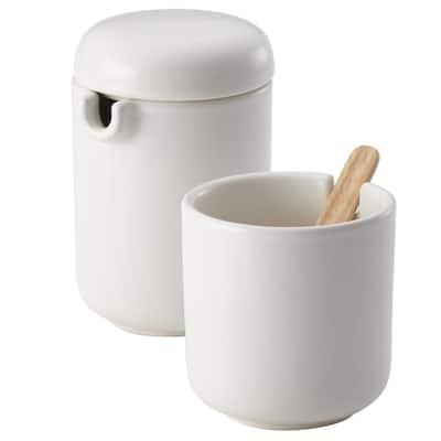6.7 oz. Matte White Ceramic Coffee and Tea Sugar and Creamer Set