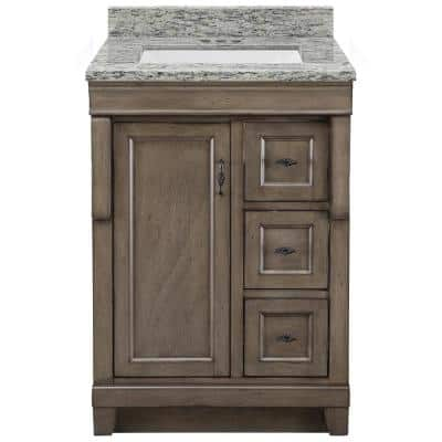 Naples 25 in. x 22 in. D Vanity in Distressed Grey with Granite Vanity Top in Santa Cecilia with Trough White Basin