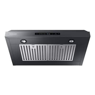 30 in. 390 CFM (600 CFM Optional) Convertible Under the Cabinet Range Hood in Black Stainless Steel