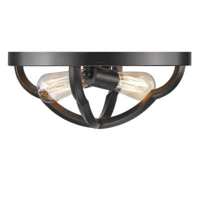 Saxon 2-Light Aged Bronze Flush Mount Light