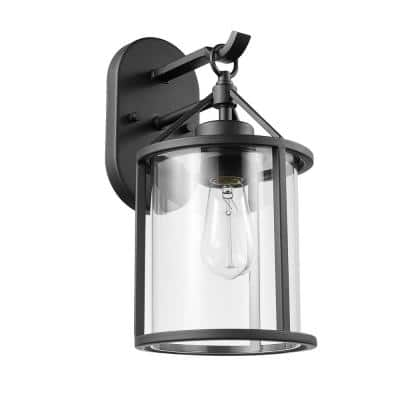 Edwin 1-Light Black Outdoor Indoor Wall Lantern Sconce with Clear Glass Shade and Vintage Incandescent Bulb Included
