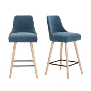 Benfield Natural Wood Upholstered Bar Stool with Charleston Blue Seat (Set of 2) (19.68 in. W x 41.73 in. H)