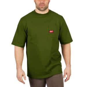 Men's Large Olive Green Heavy-Duty Cotton/Polyester Short-Sleeve Pocket T-Shirt