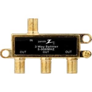 3-Way 900 MHz Coaxial Splitter in Gold