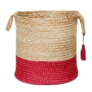 Tan / Cranberry Red 19 in. Two-Tone Natural Jute Woven Decorative Storage Basket with Handles