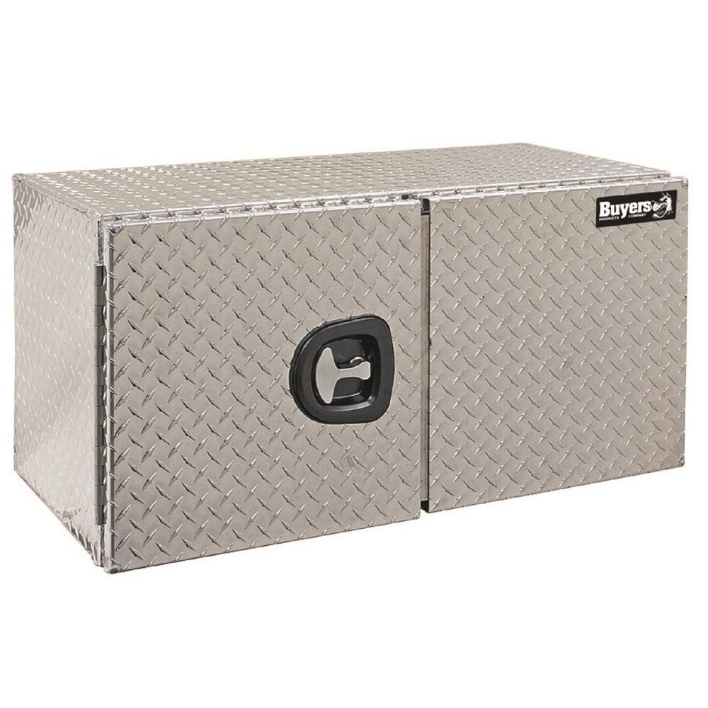18 in. x 18 in. x 48 in. Diamond Plate Tread Aluminum Underbody Truck Tool Box with Barn Door