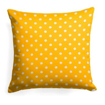 Coastal Pineapple Yellow Square Outdoor Throw Pillow