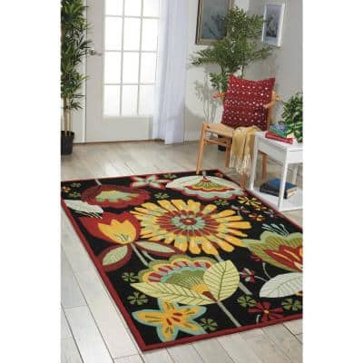 Folk Flowers Black 5 ft. x 8 ft. Moroccan Contemporary Area Rug