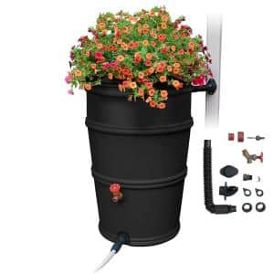 RainStation 50 Gal. Rain Barrel with Diverter System in Recycled Black