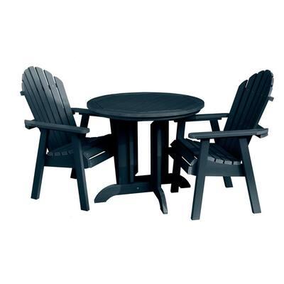 Hamilton Federal Blue 3-Piece Plastic Round Outdoor Dining Set