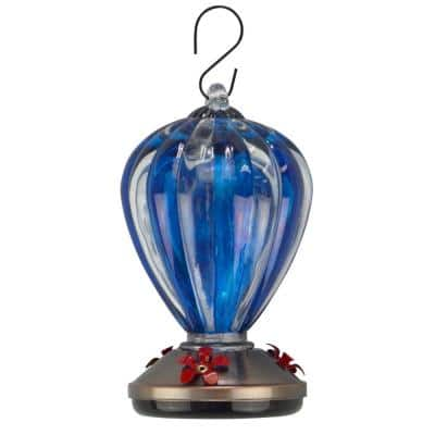 Glass Balloon Blue Hummingbird Feeder