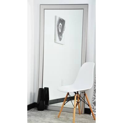 Medium Silver Wood Hooks Classic Mirror (32 in. H X 66 in. W)