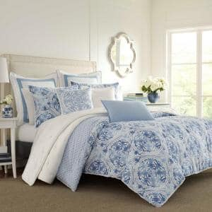 Mila 3-Piece Blue Floral Cotton King Comforter Set