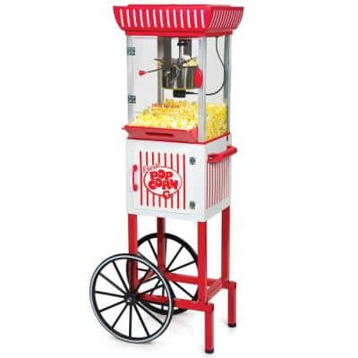 380 W 2.5 oz. Red Hot Air Popcorn Cart with Easy Mobility