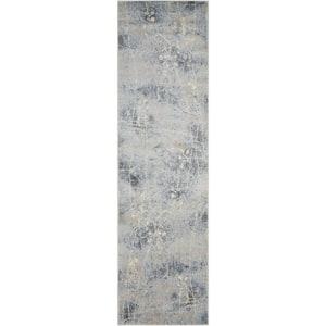 Somerset Silver/Blue 2 ft. x 6 ft. Oriental Modern Runner Rug