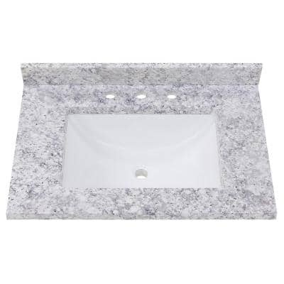 31 in. Stone Effect Vanity Top in Everest with White Sink