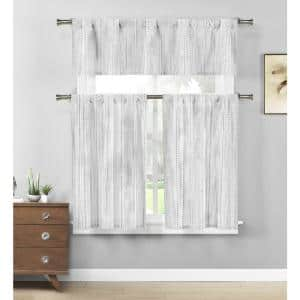 Grey-White Striped Rod Pocket Room Darkening Curtain - 58 in. W x 15 in. L (Set of 2)