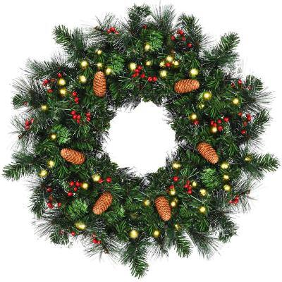 24 in. Green Pre-Lit LED Artificial Christmas Wreath with Timer
