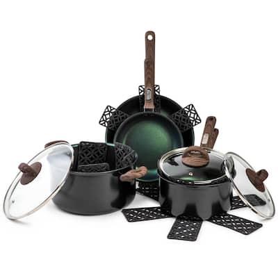 Satellite 12-Piece Aluminum Nonstick Cookware Set in Emerald