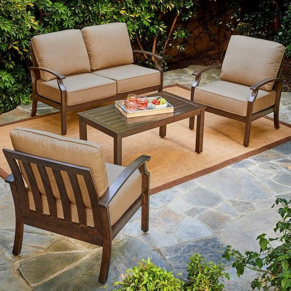Royal Garden Bridgeport 4 Piece Metal Patio Conversation Set With Tan Cushions Lakcst401 The Home Depot