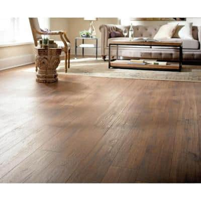 Distressed Brown Hickory 12 mm Thick x 6-1/4 in. Wide x 50-25/32 in. Length Laminate Flooring (15.45 sq. ft. / case)
