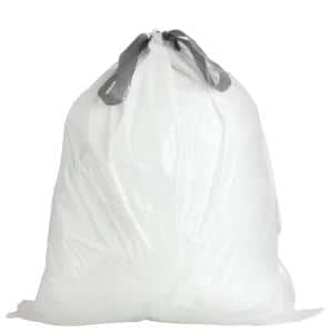24.4 in. x 28 in. 10 Gal. White Drawstring Garbage Liners Simplehuman (x) Code K Compatible (200-Count)