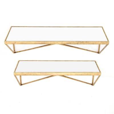Gold Metal Wall-Mount Floating Shelf (Set of 2)