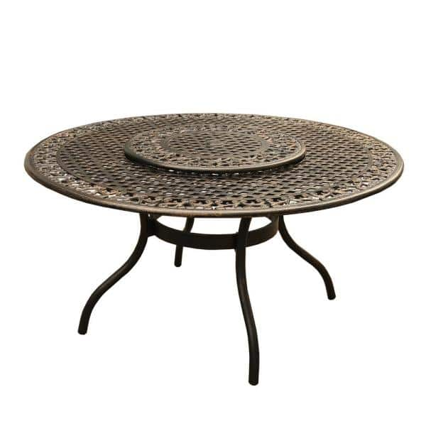 Bronze With Lazy Susan Hd2555 Round, Round Patio Tables