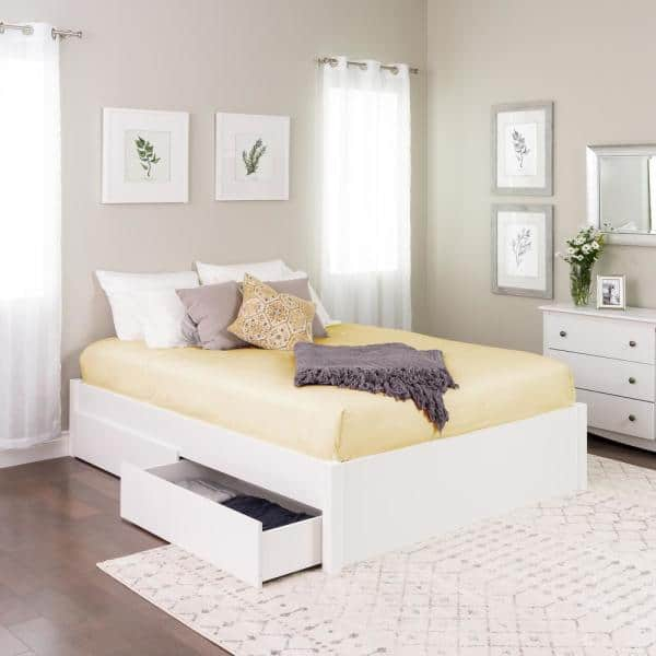 Prepac Select White Queen 4 Post, Queen Platform Bed Frame With Storage White