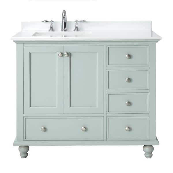 Home Decorators Collection Orillia 42 In W X 22 In D Vanity In Misty Latte With Marble Vanity Top In White With White Sink Orillia 42ml The Home Depot