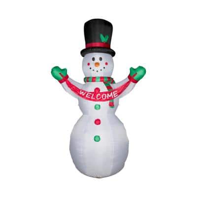 12 ft. Lighted Inflatable Snowman with Welcome Decor