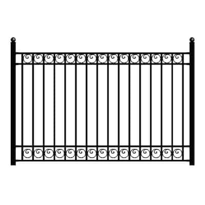 Dublin Style 5 ft. x 8 ft. Black Iron Fence Panel