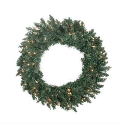 30 in. Pre-Lit Traditional Pine Artificial Christmas Wreath with Clear Lights