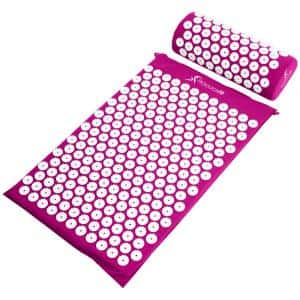 Purple 25 in. x 15.75 in. Acupressure Mat and Pillow Set for Back/Neck Pain Relief and Muscle Relaxation (2.73 sq. ft.)
