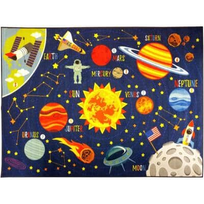 Multi-Color Kids and Children Bedroom Playroom Space Safari Road Map Educational Learning 5 ft. x 7 ft. Area Rug