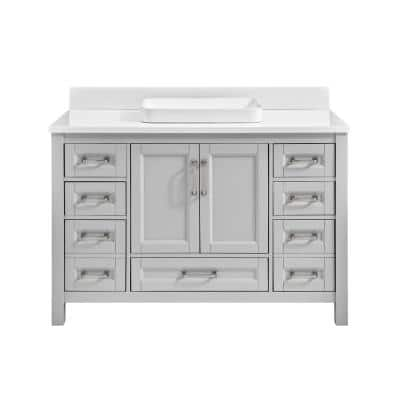 48 in. W x 22 in. D Vanity in Light Gray with Engineered Vanity Top in White with White Basin