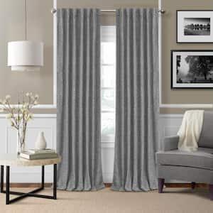 Gray Linen Blackout Curtain - 52 in. W x 95 in. L