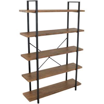 70 in. Brown 5-Shelf Industrial Style Standard Bookcase with Wood Veneer-Shelves