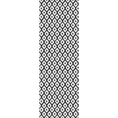 Decorative Black and White 24 in. x 72 in. Laminated Kitchen Mat