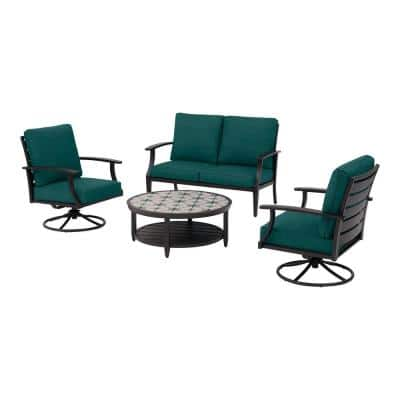 Ellington 4-Piece Steel Outdoor Seating Set with CushionGuard Malachite Green Cushions