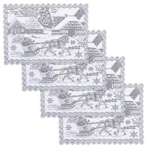 Sleigh Ride 14 in. x 20 in. White Placemats (Set of 4)