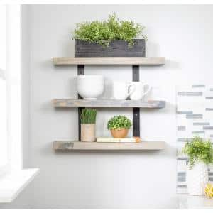 Industrial Grace 5.5in x 24in x 20in Gray Pine Wood Three-TIer Decorative Wall Shelf with Brackets